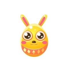 Yellow egg shaped easter bunny vector