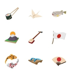 Holiday in japan icons set cartoon style vector
