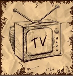 Retro tv with antenna on vintage background vector image