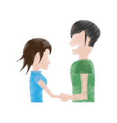 drawing man and woman relation happy vector image