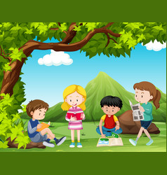 four kids reading books under the tree vector image