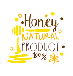 Honey natural product 100 percent logo symbol vector
