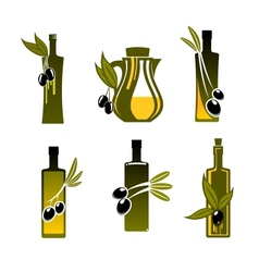 Bottles with olive oil vector
