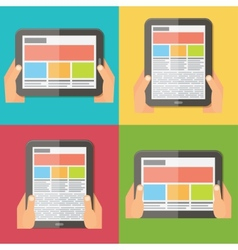 Hands holding digital tablet responsive design vector