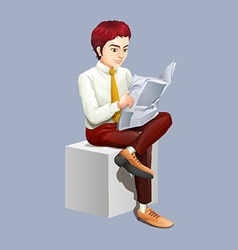 Man reading newspaper alone vector