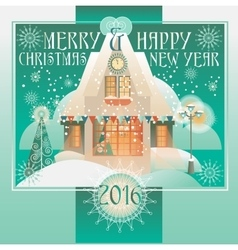 Christmas design with house winter landscape vector