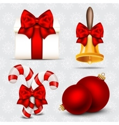 Set of realistic christmas objects vector