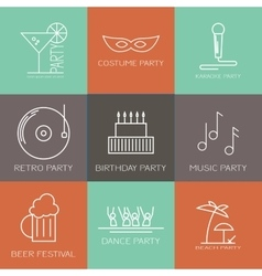 Icon set of parties vector