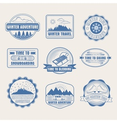 Winter adventure badges set logos labels vector