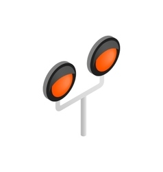 Railway crossing light isometric icon vector