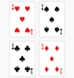 Playing Cards Showing Fives from Each Suit vector image