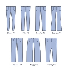 Women jeans types set vector