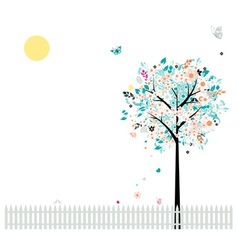 Floral tree beautiful for your design birds on fen vector