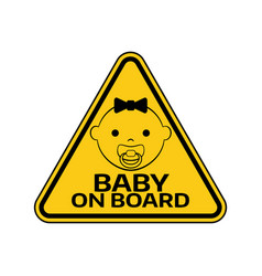 baby on board sign with child girl smiling face vector image