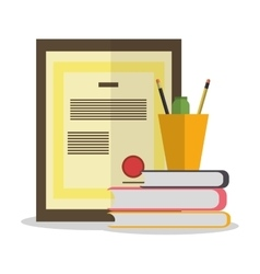 Books certificate and worktime design vector