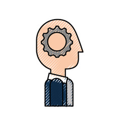 cartoon business man with gear brain creativity vector image