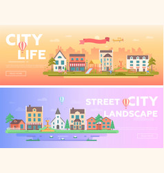City life - set of modern flat vector