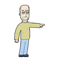 Comic cartoon old man gesturing get out vector