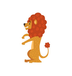 Cute funny lion cartoon character sitting vector