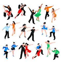 Dances isometric people set vector