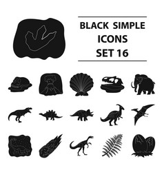 dinosaurs and prehistoric set icons in black style vector image vector image