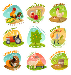 farm emblems set vector image