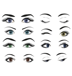 Female woman eyes and brows image collection set vector
