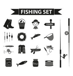 fishing icon set black silhouette outline style vector image vector image