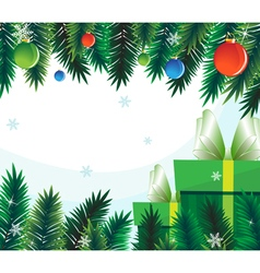 Gift boxes on the background of fir branches vector image vector image