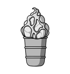 Ice cream in waffle cup icon in monochrome style vector