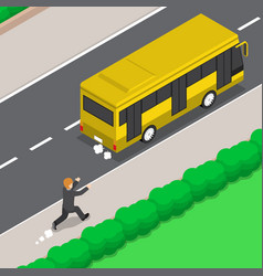 Isometric businessman is running follow the bus vector