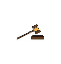 Judge gavel solid icon auction hammer sign vector