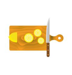 lemon cutting board knife vector image