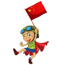 Little boy holding flag of China vector image