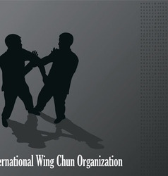 Men are engaged in the kung fu wing chun vector