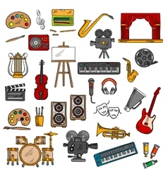 Music fine art cinema and theater icons vector image