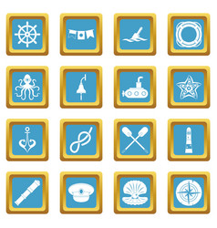 nautical icons azure vector image