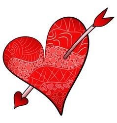 Red valentines day detailed heart pierced an arrow vector