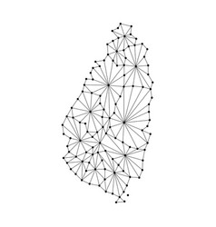 Saint lucia map of polygonal mosaic lines network vector