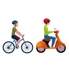 scooter and bicycle riders drivers riders vector image
