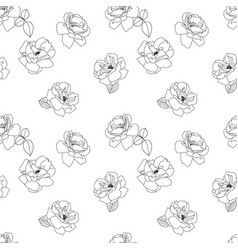 Seamless black and white rose pattern flower vector