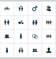 Set of simple beloved icons elements mister rings vector