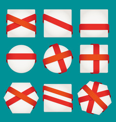 sheet of paper with red ribbons set vector image vector image