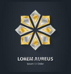 Silver and Gold star logo Award 3d icon Metallic vector image vector image