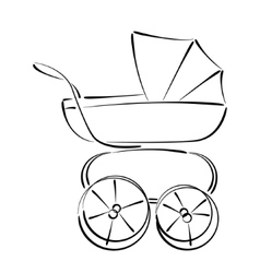 Sketched baby stroller buggy isolated on white vector