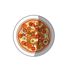 Sticker colorful rounded pizza icon fast food vector