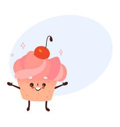 Sweet humanized cupcake brownie character vector