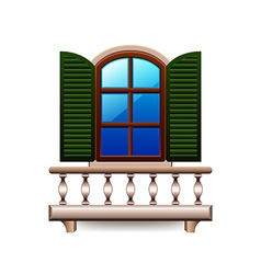 Window with balcony isolated on white vector image vector image