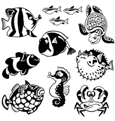 Cartoon fishes black and white vector