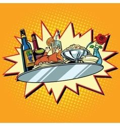 Large food tray with wine and dinner vector